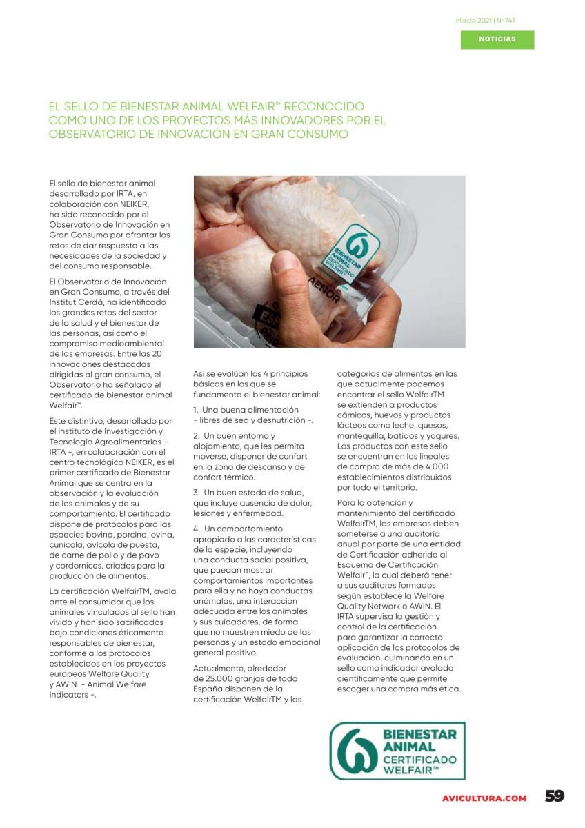 El sello de bienestar animal WELFAIR™ reconocido como uno de los proyectos más innovadores por el Observatorio de Innovación en gran consumo
