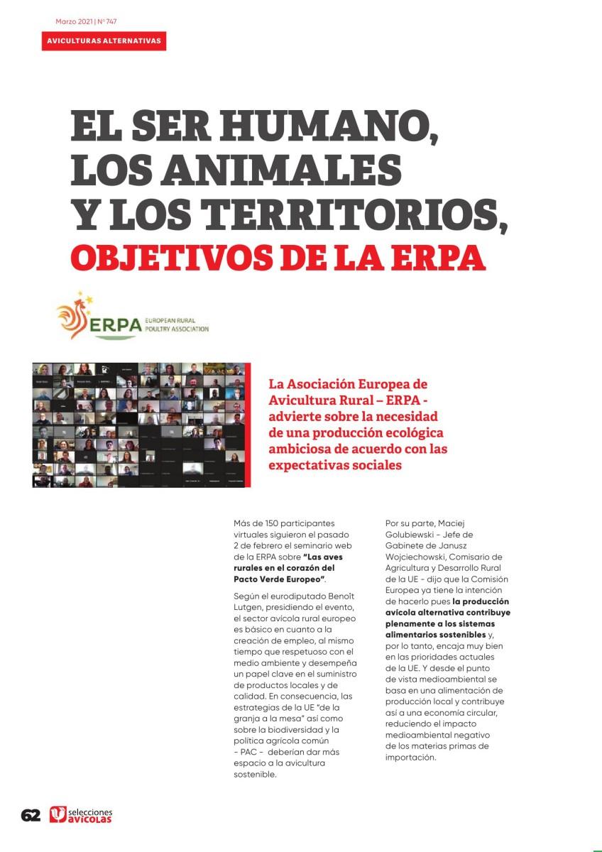 El ser humano, los animales y los territorios, objetivos de la ERPA