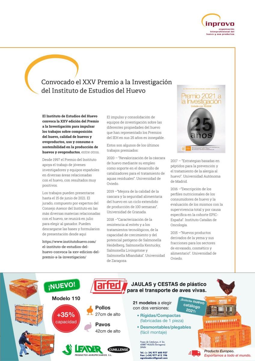 Convocado el XXV Premio a la Investigación del Instituto de Estudio del Huevo