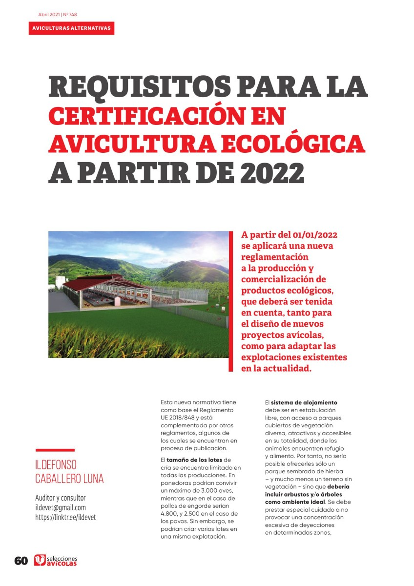 Requisitos para la certificación en avicultura ecológica a partir de 2022