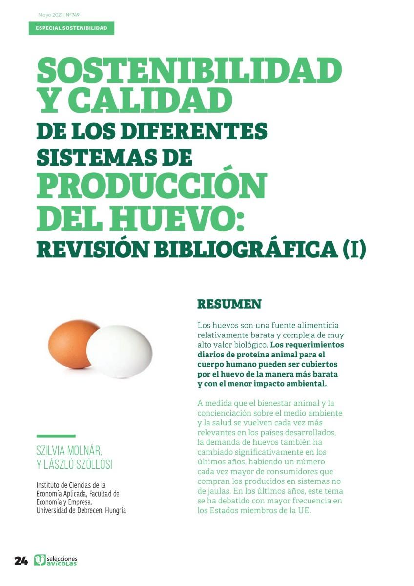 Especial SOSTENIBILIDAD: Sostenibilidad y calidad de los diferentes sistemas de producción de huevo: revisión bibliográfica ( I )