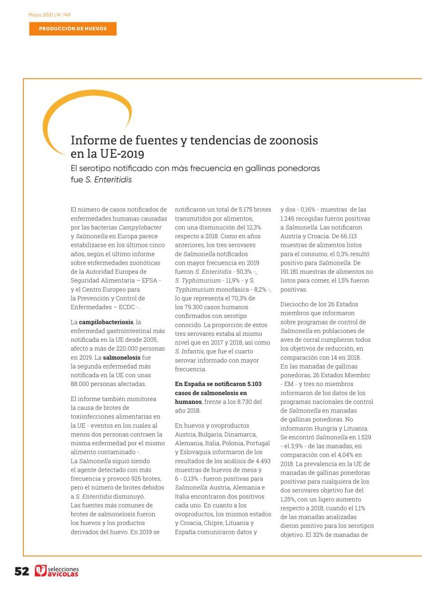 Informe de fuentes y tendencias de zoonosis en la UE-2019