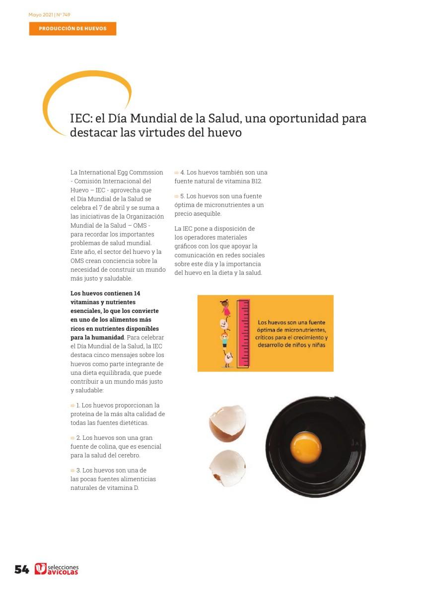 IEC: el día Mundial de la Salud, una oportunidad para destacar las virtudes del huevo