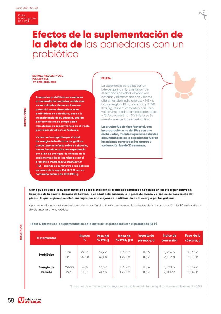 Efectos de la suplementación de la dieta de las ponedoras con un probiótico