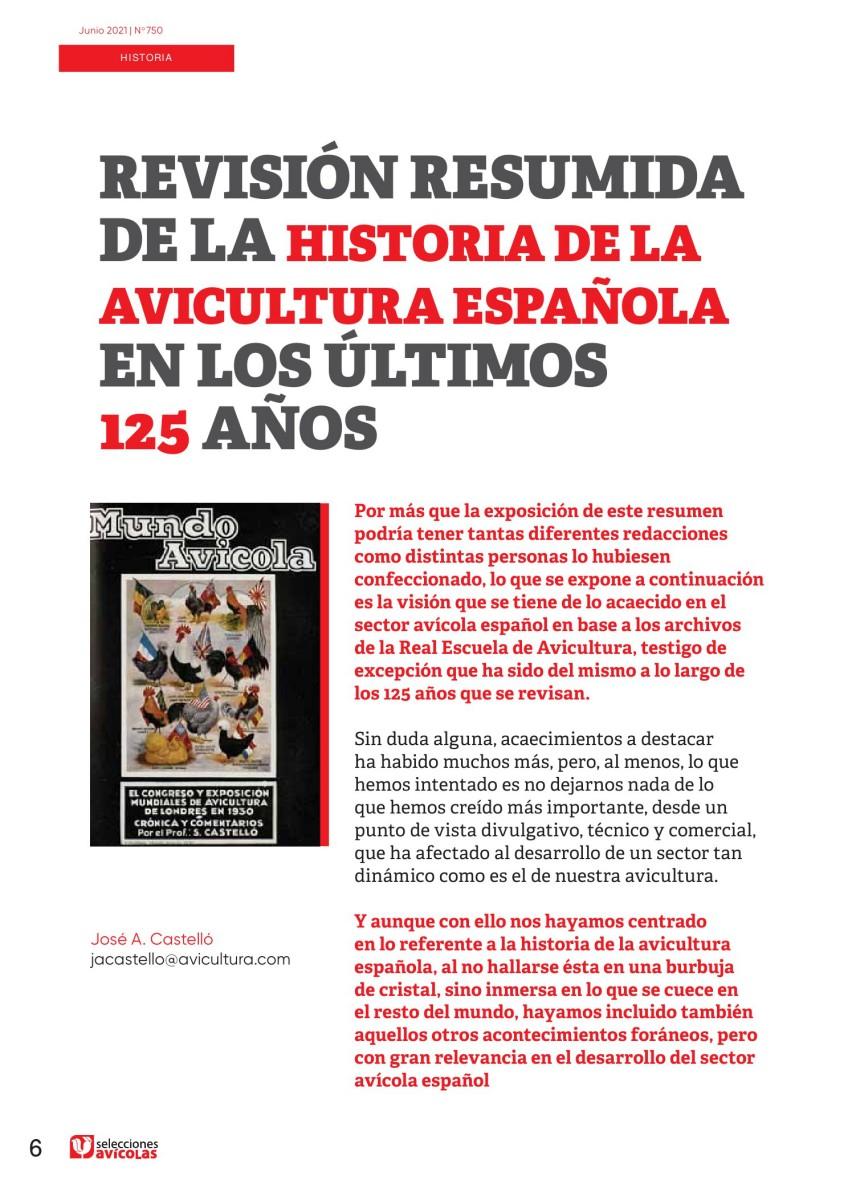 Revisión resumida de la historia de la avicultura española en los últimos 125 años