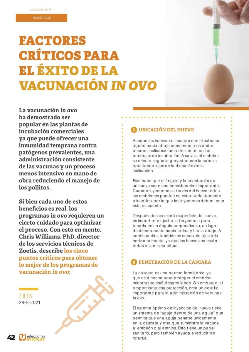 Factores críticos para el éxito de la vacunación in ovo