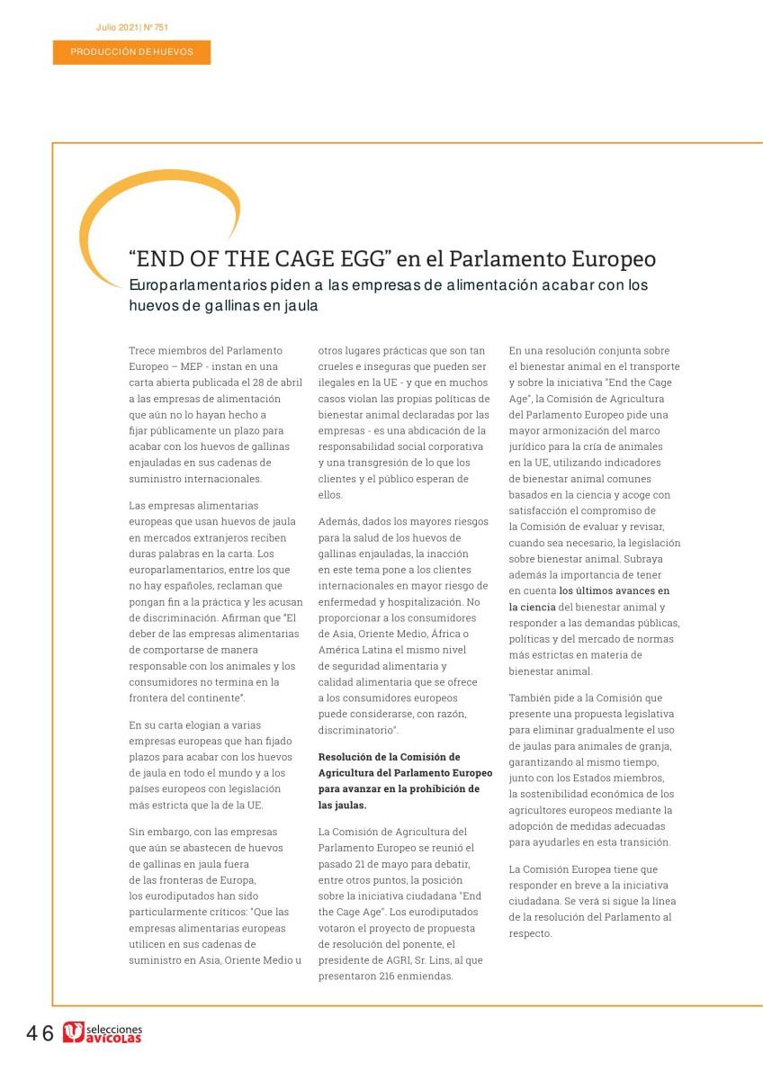 """""""End of the Cage Age"""" en el Parlamento Europeo"""