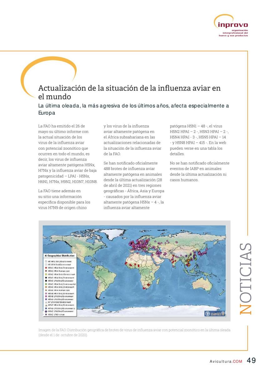 Actualización de la situación de la influenza aviar en el mundo