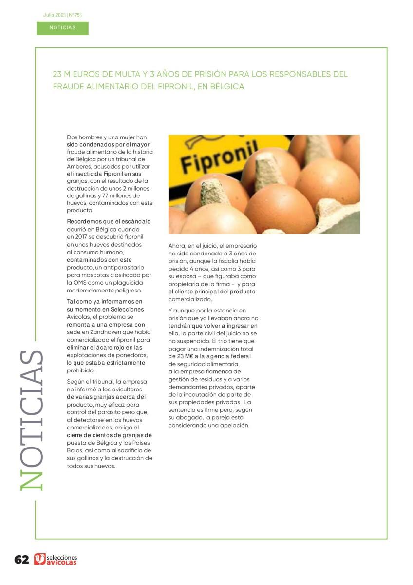 23 m euros de multa y 3 años de prisión para los responsables del fraude alimentario del fipronil, en Bélgica