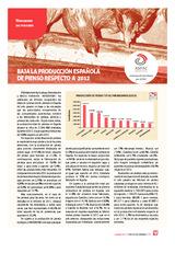 Baja la producción española de pienso respecto a 2012