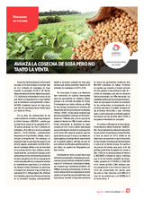 Avanza la cosecha de soja pero no tanto la venta