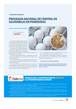 Programa nacional de control de salmonelas en ponedoras