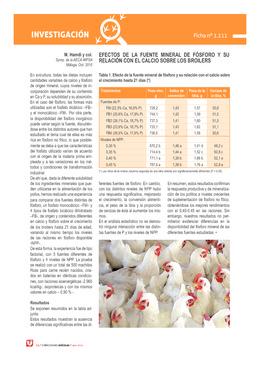 Efectos de la fuente mineral de fósforo y su relación con el calcio sobre los broilers