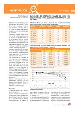 Evaluación de diferentes flujos de agua con bebederos de tetina sobre el rendimiento de los broilers