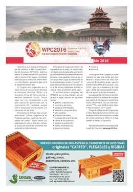 El XXV Congreso Mundial de Avicultura, Pekin 2016
