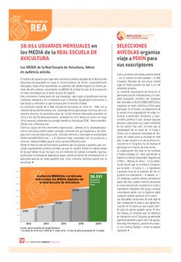 38.051 usuarios mensuales en los MEDIA de la Real Escuela de Avicultura