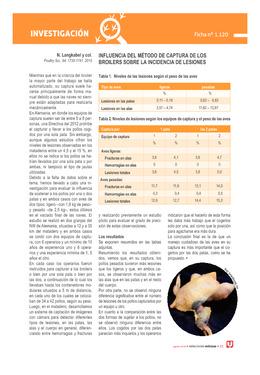 Influencia del método de captura de los broilers sobre la incidencia de lesiones