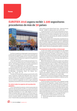 EuroTier 2016 espera recibir 2.500 expositores procedentes de más de 50 países