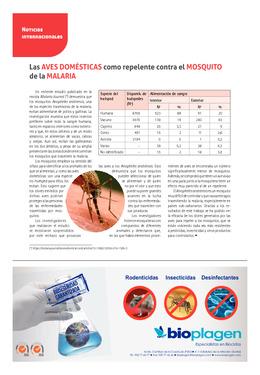 Las aves domésticas como repelente contra el mosquito de la malaria