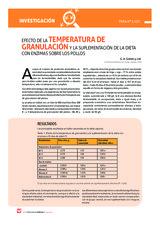 Efecto de la temperatura de granulacion y la suplementacion de la dieta con enzimas sobre los pollos