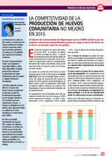 La competitividad de la producción de huevos comunitaria no mejoró en 2015