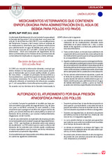 MEDICAMENTOS VETERINARIOS QUE CONTIENEN ENROFLOXACINA PARA ADMINISTRACIÓN EN EL AGUA DE BEBIDA PARA POLLOS Y/O PAVOS