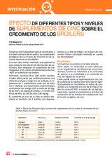 EFECTO DE DIFERENTES TIPOS Y NIVELES DE SUPLEMENTOS DE CINC SOBRE EL CRECIMIENTO DE LOS BROILERS