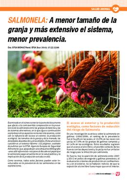 SALMONELA: A menor tamaño de la granja y más extensivo el sistema, menor prevalencia