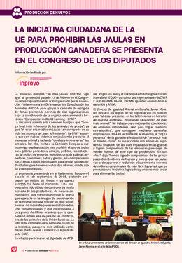 LA INICIATIVA CIUDADANA DE LA UE PARA PROHIBIR LAS JAULAS EN PRODUCCIÓN GANADERA SE PRESENTA EN EL CONGRESO DE LOS DIPUTADOS
