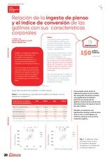 Relación de la ingesta de pienso y el índice de conversión de las gallinas con sus características corporales