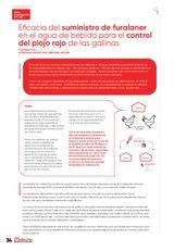 Eficacia del suministro de furalaner en el agua de bebida para el control del piojo rojo de las gallinas