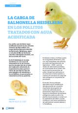 La carga de Samonella Heidelberg en los pollitos tratados con agua acidificada