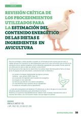 Revisión crítica de los procedimientos utilizados para la estimación del contenido energético de las dietas e ingredientes en avicultura